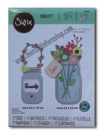Sizzix Thinlits Jar of Flowers SOTTILI